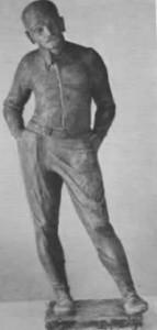 Alfred Nervø i flyverdragt (statue af Georg Ulmer)