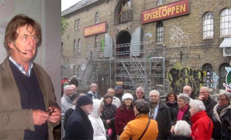 Advokat Knud Foldschack orienterede om Christianias juridiske status nu, hvor der samles ind til at overtage området. De over hundrede veteraner blev delt op i hold og fik en grundig rundvisning på Christianias store område.