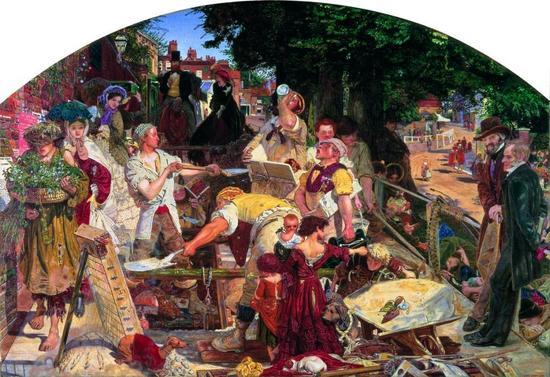 Flid arbejdsomhed og trange kår i Victoria-tidens middel- og underklasse, en uvirksom rig overklasse – og for dem alle gjaldt, at deres børn nok skulle ses, men ikke høres (maleri af Ford Madox Brown)